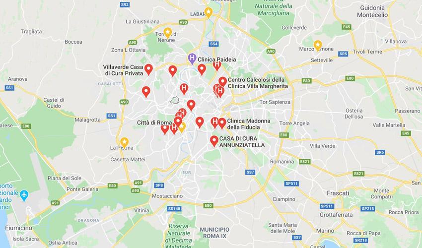Cartina Roma E Provincia.Elenco Cliniche Private A Roma
